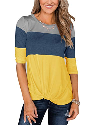 Minthunter Women's Half Sleeve T Shirts Casual Color Block Round Neck Spring Tops Yellow