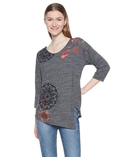 Desigual Damen TS_UMA T-Shirt, Grau (Dark Gray 2014), Medium