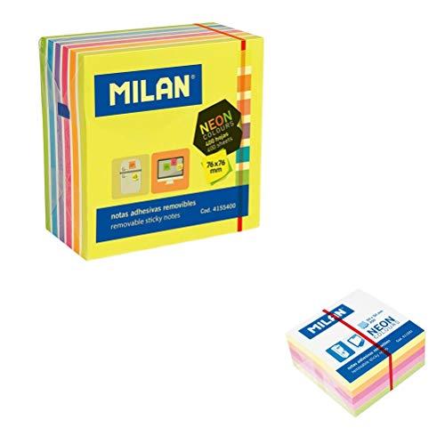 Milan-2 Tacos Notas adhesivas 76x76 mm y 50x50 mm Colores Neón