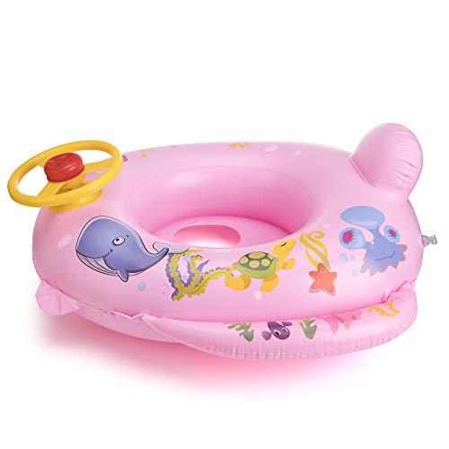 OKCS Gummiboot für Kinder Fisch Motiv Schlauchboot Pool Schwimmen Strandboot Junior Schwimmbad Badespaß - in Pink mit gelben Lenkrad und Hupe