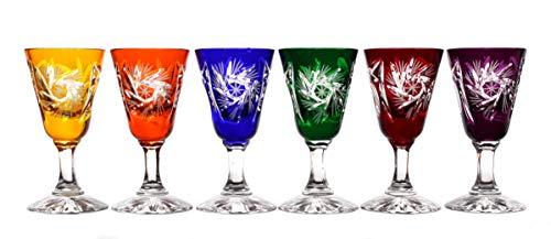 CRISTALICA 6 Likörgläser Likörkelch Schnapsglas Wodka geschliffen Bunt Kristallglas 25 ml