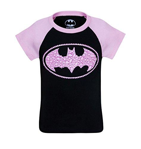 Batgirl Kids Sugar Glitter Symbol T-Shirt- Toddler 3T Black