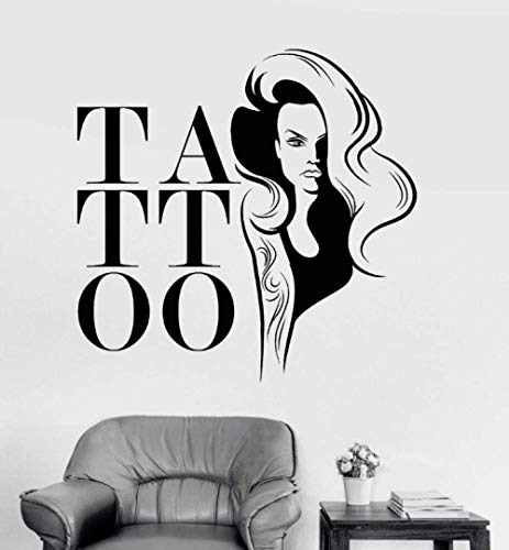 Aplique De Pared De Vinilo Tattoo Studio Woman Girl Sticker Mural Shop Window Wall Decoration Art Decal Living Room Wallpaper 72 * 74Cm