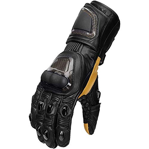 ILM Motorcycle Leather Gloves Kevlar Fabric Touchscreen for Riding Men Women (Black, M)