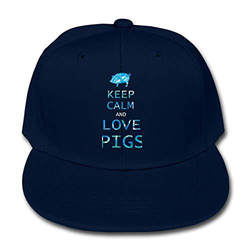 XCNGG Strickmütze Wollmütze Boys&Girls Hats Funny Baseball Cap Print Keep Calm and Love Pigs Cap for Children
