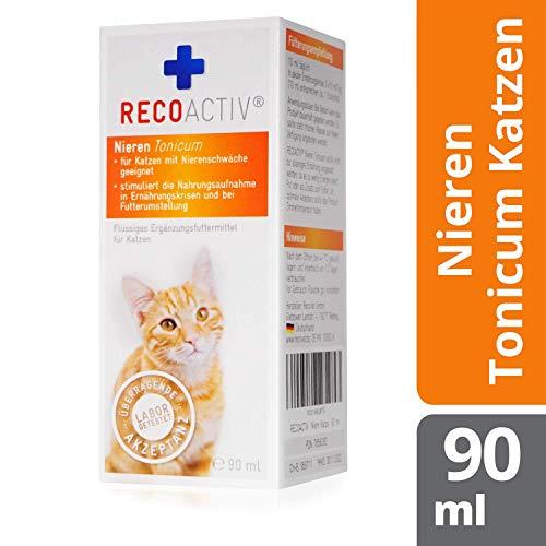 RECOACTIV® Nieren Tonicum für Katzen, 90 ml, Nahrungsmittelergänzung für nierenkranke Katzen sowie zur Prophylaxe, Stärkungsmittel zur Rekonvaleszenz bei Niereninsuffizienz der Katze