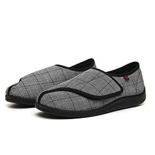 B/H Diabéticas Zapatos,Zapatos ortopédicos para Personas Mayores y de Mediana Edad, Zapatos de Gran tamaño para Pulgar valgus-Gray_48,Zapatos diabéticas Ajustables