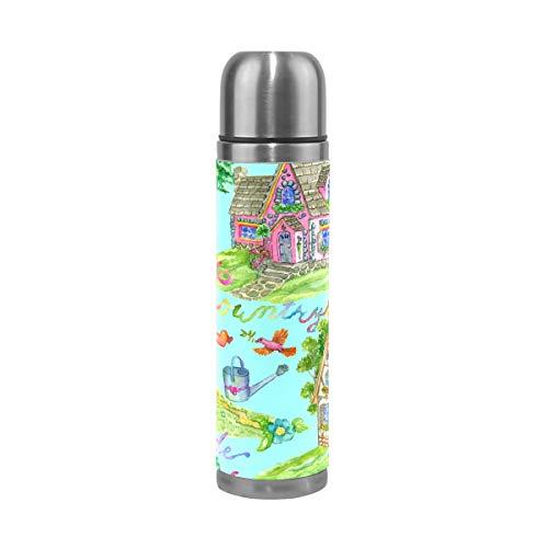 Ahomy Wasserfarbe, Gartenhaus, Vogel, Edelstahl, isoliert, Vakuum, Wasserflasche, Reise-Kaffeetasse, 500 ml