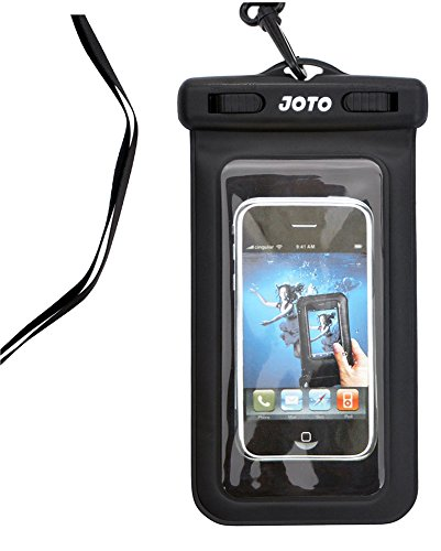 """JOTO Universal Waterproof Bag Case for iPhone SE 5s 5C 5 4s 4 and iPod Touch 6th 5 - Also fits Other Devices up to 5.2"""" Diagonal - IPX8 Certified to 100 Feet (Black)"""