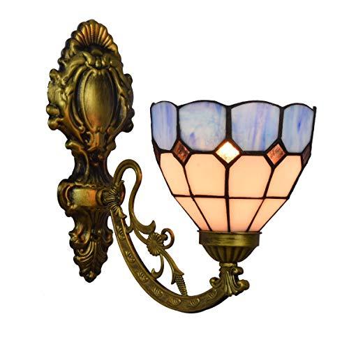 L-YINGZON British vidrio manchado retro Espejo Faros simple jardín de noche la lámpara de pared del pasillo mediterránea de una sola cabeza de cristal lámpara de pared de la decoración de la pared de