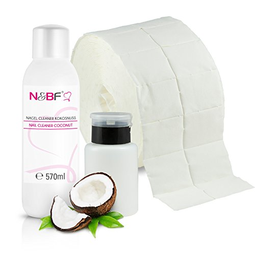 N&BF Nagel Cleaner Set mit Duft 570ml + Dispenser Pumpflasche Schwarz 150ml + 1000 Zelletten Cellulose Pads (2 Rollen à 500 Stück) - 70% Isopropanol-Alkohol – für Gelnägel – Nagelreiniger (Kokosnuss)
