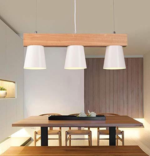 CENPEN Lámparas colgante Lámpara de techo de madera nórdica colgante de luces con triple lámpara colgantes del metal de la lámpara pendiente de la lámpara moderna Colgando E27 Suspensión luz caliente