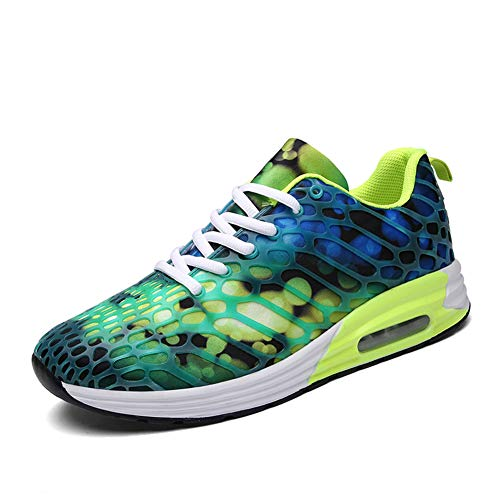 [ZHENGSHENG] ランニングシューズ レディース メンズ スニーカー レースアップ 運動靴 スポーツ ジョギングシューズ カラフルな 紫 白 K58 グリーン 25cm