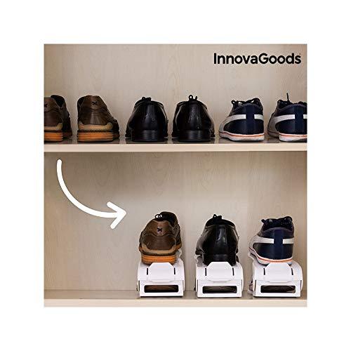 InnovaGoods Organizador de Zapatos Regulable Shoe Rack (6 Pares), Blanco, Unitalla