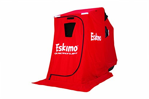 "Eskimo QuickFlip 15300 QuickFlip 1 Portable Flip Style Ice Shelter with 50"" Sled & Tripod Chair, 1 Person"