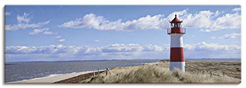 Artland Leinwandbilder auf Holz Wandbild 120x40 cm Querformat Natur Landschaft Strand Dünen Himmel Meer Leuchtturm Sylt Nordsee Panorama T9ML
