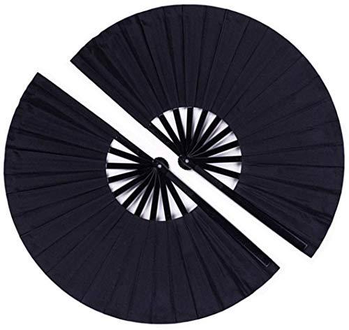 Minleer - Abanico de mano plegable grande, 2 unidades, tela de nailon,...