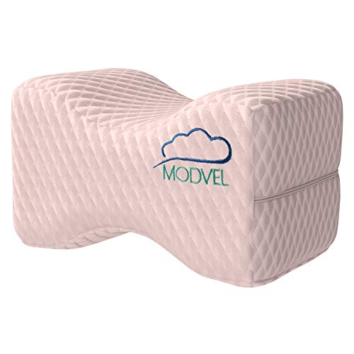 MODVEL Orthopedic Knee Pillow   Memory Foam Cushion for Hip, Sciatica & Lower Back Pain Relief   Provides Support & Comfort (MV-104) (Pink)