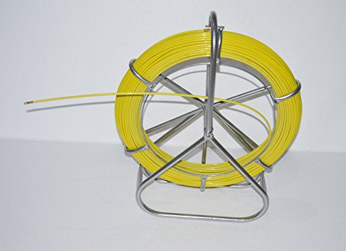 INTBUYING 6mm 425 FT Length Fish Tape Fiberglass Reel Wire Cable Running Rod Duct Rodder Fishtape Puller