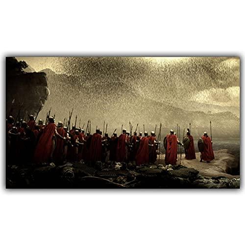 YYAYA.DS Impresión de Lienzo 300 Spartan Warriors with Spears Shield Poster Print Movie Wallpaper Decoración del hogar 60x90cm