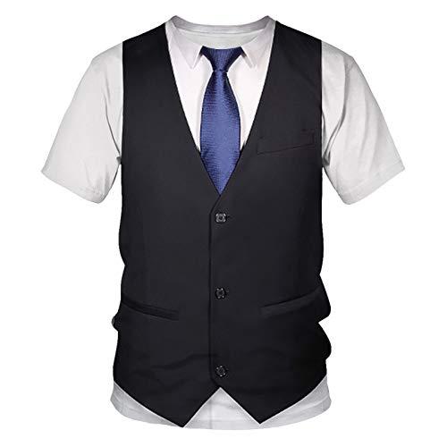 VYNTM Herren T Shirt Schwarz 3D Fake Anzug Print T Shirt Herren Kurzarm Lustige Harajuku Slim Fit T-Shirts Hip Hop Streetwear Top