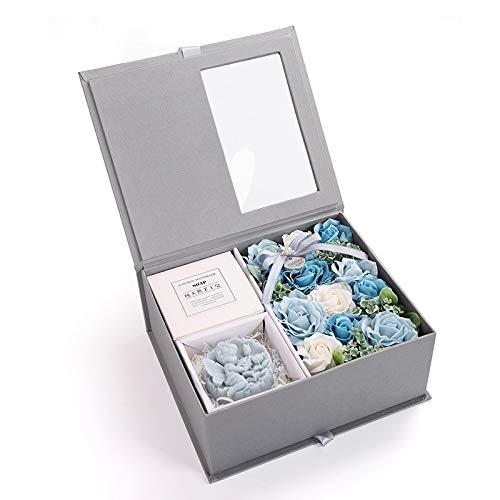 Coffret cadeau exquis Jour créatif Valentine Savon cadeau Fleur Rose Coffret cadeau souvenir (rose) (Color : Blue)