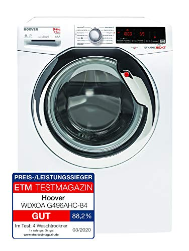 Hoover WDXOA G496AHC-84 Waschtrockner / 9 kg Waschen / 6 kg Trocknen/Inverter-Motor/Active Steam Dampffunktion/Smarte Bedienung mit NFC-Technologie/Aquastop