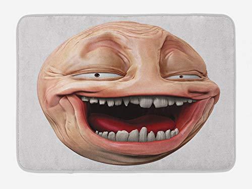 ABAKUHAUS Humor Tapete para Baño, Poker Face de Guy Meme, Decorativo de Felpa Estampada con Dorso Antideslizante, 45 cm x 75 cm, Melocotón y Pearl