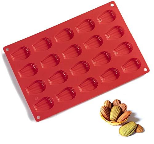 Madeleines Moulessilicone patisserie 20 trous Moule silicone Antiadhésifs Plaque à pâtisserie, pour faire des desserts, pâtisseries, chocolat (rouge)