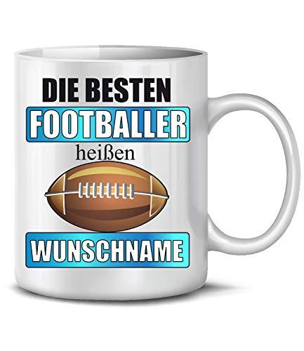 Golebros Die beesten Footballer heißen Wunschname 6429 Sport Geburtstag Geschenk Fun Tasse Becher Kaffeetasse Kaffeebecher Weiss