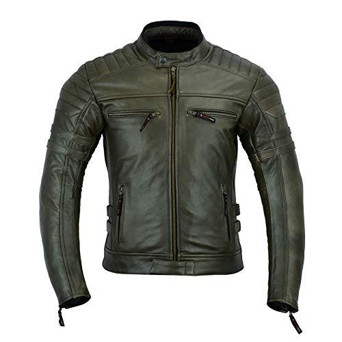 Giacca da moto in pelle da uomo, con protezioni armour, stile vintage consumato, colore marrone, DC-4092
