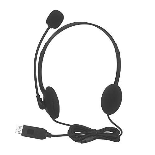 ZOVI USB Computer Headset with Microphone for PC and Laptop Skype Headset with USB Connection Call Center Office - Black