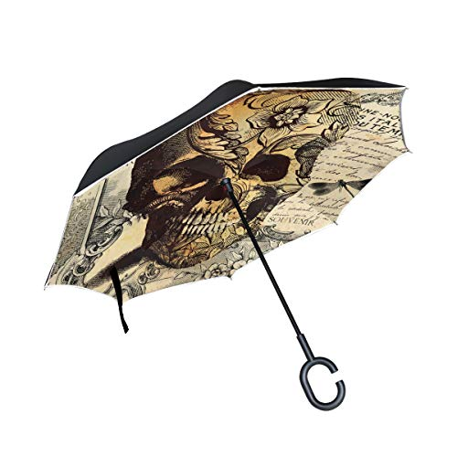 ALAZA Vintage Tattoo Skull Windproof Inverted Open Close Reverse Rain Umbrella Inside Out Quality Waterproof Parasol Upside Down Stick Shelter with Hook c Handle