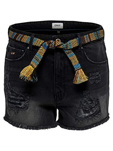 ONLY Damen Jeansshorts Divine Mini Gürtel 28Black