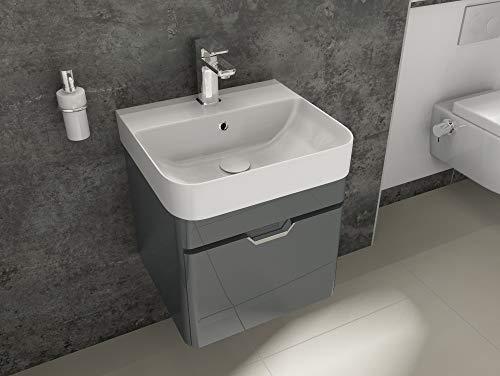 Aqua Bagno Badmöbel-Set Piccolo Waschtisch mit Unterschrank aus Keramik Gäste-WC Anthrazit Hochglanz   48 cm