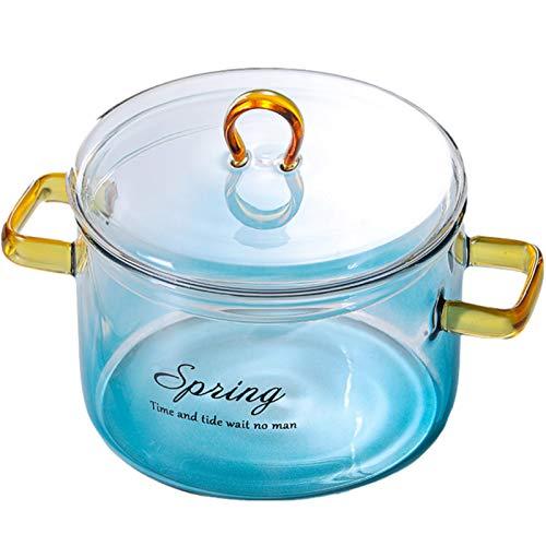 Cazuela Pote de cristal de color de gradiente Cazuela resistente al calor con tapa de microondas de microondas Estufa de ollas Caja de pasta segura Sopa de la leche Ensalada Tazón de ensalada