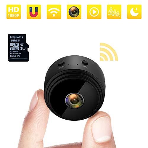 Mini Kamera 1080P HD Kleine WLAN Kamera Tragbare Mini Überwachungskamera mit Nachtsicht-Bewegungserkennung und und Magnet Mikro Nanny Cam für Innen- und Außenbereich mit Einer 32G SD-Karte