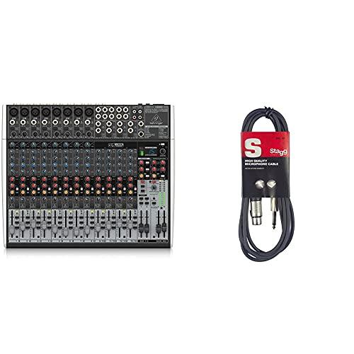 Behringer XENYX X2222USB 22-Kanal 2/2 Bus Mischpult mit XENYX Mic Preamps, 1-knob Kompressoren & Stagg 18239 Standard-Mikrofonkabel (6 m, 3-polig, Klinkenstecker-auf-Buchse XLR) schwarz