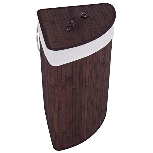 GOFLAME Corner Bamboo Laundry Hamper with Lid and Removable Liner, Washing Clothes Basket Storage Bin with Handle, Suitable for Bedroom, Bathroom, Laundry (Brown)
