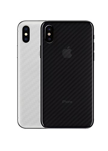 qichenlu [Carbon Muster] 4 Stücke Rückseite Folie für iPhone XS, Folie Hinter für iPhone XS,Klar Matt Klebefolie Kratzfest Hinten Schutz