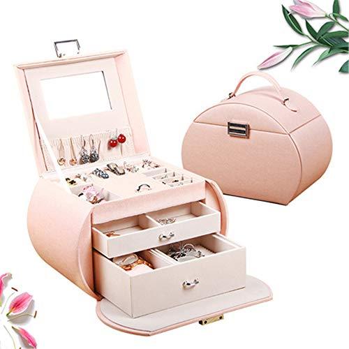 Porte-Maquillage Support de Rangement Boîte à Maquillage en Cuir Bleu Portable de Stockage de Bijoux de boîte de Rangement de Bijoux, Rose