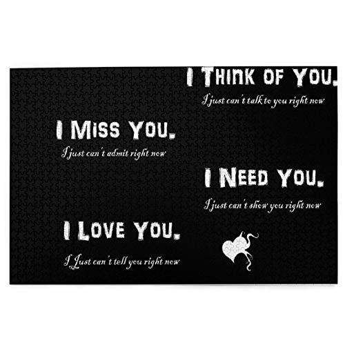 Rompecabezas de 1000 Piezas,Rompecabezas de imágenes,Cute I Love You Miss You Need You Think Of You Cotizaciones Juguetes puzzle for Adultos niños Interesante Juego Juguete Decoración Para El Hogar