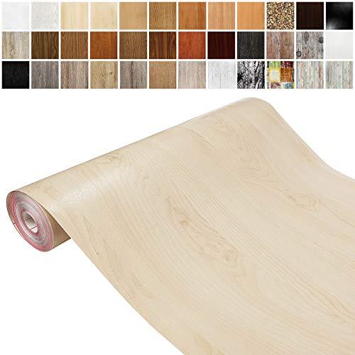 Askol DecoMeister Klebefolien in Holz-Optik Holzfolien Deko-Folien Holzdekor Selbstklebefolie Möbelfolie Selbstklebend Holz-Maserung 67,5x100 cm Birke