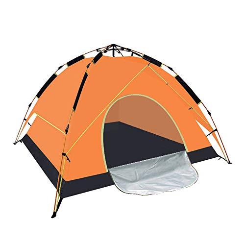 QIU Familia 3-4People Tienda Plegable portátil, Poste de Aluminio Naranja, Plegable a Prueba de Agua con Tiendas de campaña para Acampar Senderismo Tienda de campaña Sombrilla