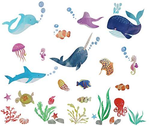 Xingsky Wandtattoo Kinderzimmer,Wandaufkleber Unter dem Meer Meerestiere Tiere Wandsticker Unterwasserwelt für Kinderzimmer Wandbilder Schlafzimmer Badezimmer Wanddeko
