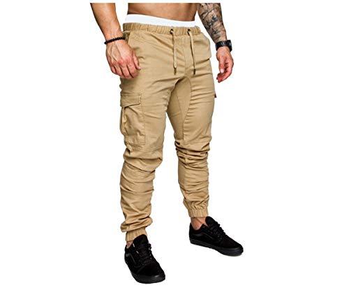 Pantaloni Uomo Slim Fit Casual Pantaloni da Jogging Allenamento a Matita con Coulisse Tasche Laterali Pantaloni Streetwear (Cachi, L)
