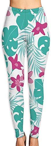 Irener Yoga-Hose, Sport, Workout, Leggings, Tropische Blätter, bietet Frauen mit hoher Taille, Ultra-weich, leicht, Gymnastik-Leggings Gr. M, weiß