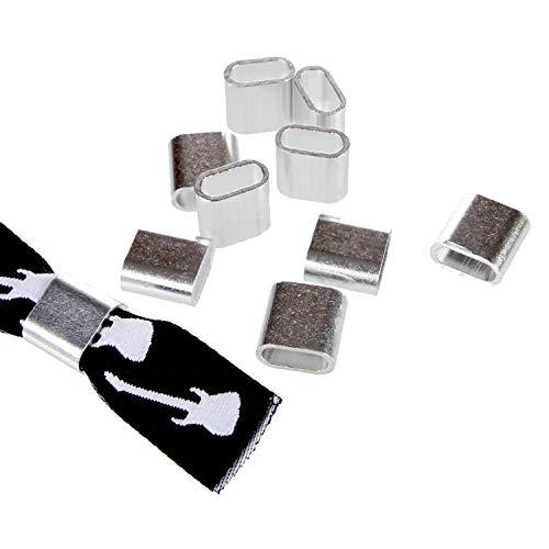 Textilband Verschluss Aluminium Silber - 10 Stück - Flach