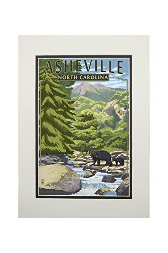 Asheville, North Carolina - Black Bears and Stream (11x14 Double-Matted Art Print, Wall Decor Ready to Frame)