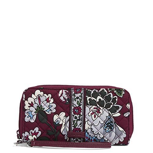 Vera Bradley Women's Signature Cotton RFID Accordion Wristlet , Bordeaux Blooms, One Size